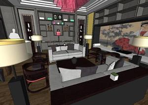 新中式客厅室内装潢设计方案SU(草图大师)精致模型