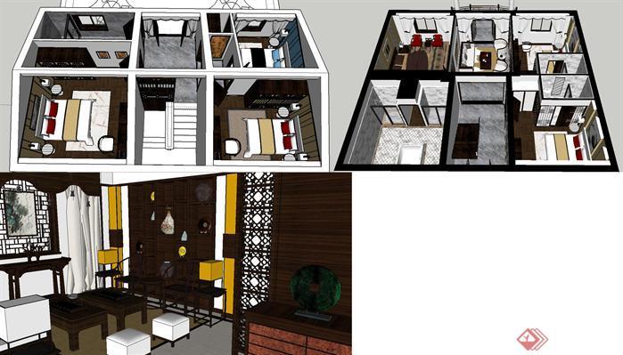 三层别墅室内新中式装潢方案SU精致设计模型