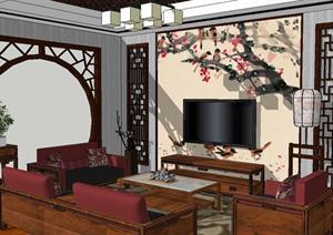 中式小客厅装潢设计方案SU(草图大师)精致模型