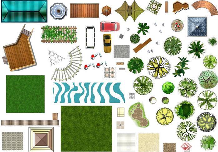 ps素材包(包括各种植物平面,立面,人车等等)
