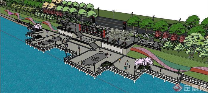 唐文化滨河公园滨水广场景观设计su模型