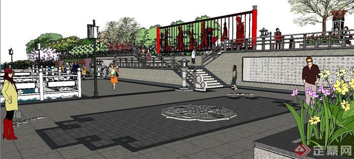 唐文化濱河公園濱水廣場景觀設計su模型