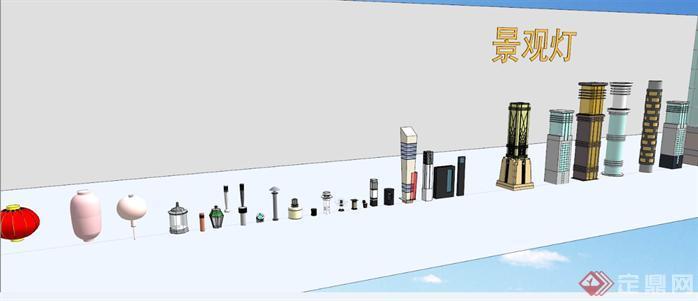 精选景观灯具SU模型合集1