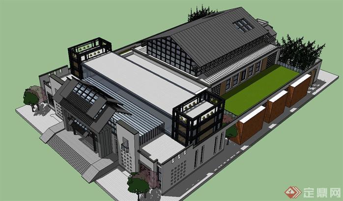 新中式艺术博物馆su精致设计模型,该建筑设计方案创意独特,模型制作