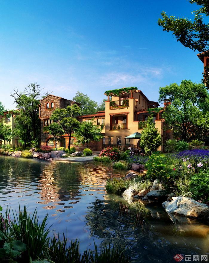 欧式别墅花园后院景观设计psd效果图