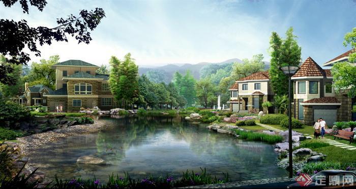 某别墅花园水景景观设计psd效果图