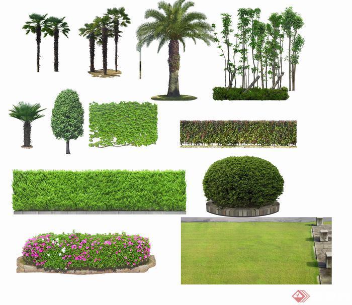 园林景观素材之灌木丛配景psd素材