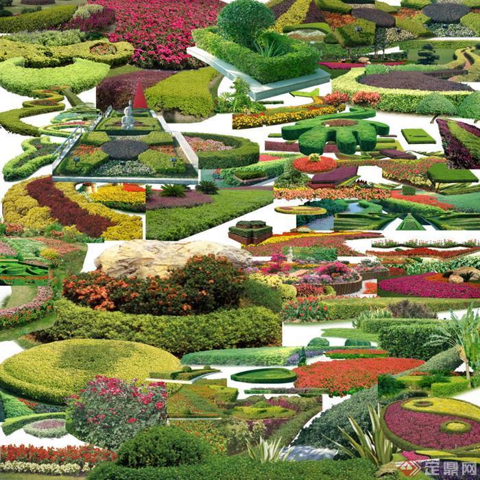 灌木花坛与绿篱类psd素材,该植物设计素材可以应用于建筑,景观设计的