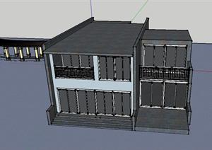 大二小别墅建筑设计SU(草图大师)模型