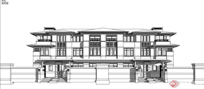 苏州万科长风别墅区——赖特新中式建筑设计su模型