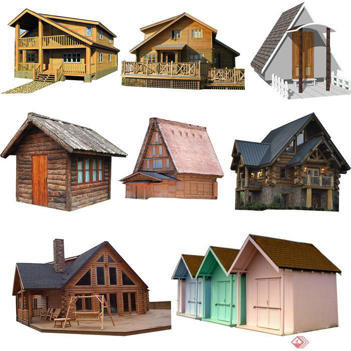 多款木屋建筑钱柜娱乐psd综合素材,图片精度不错,值得使用.