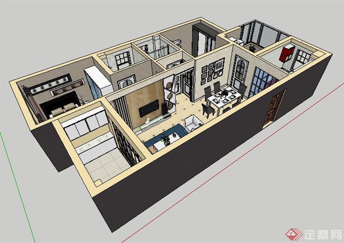 标准的汉口陌陌屋室内草图模型,该室内设计方案创意独特,模型制作