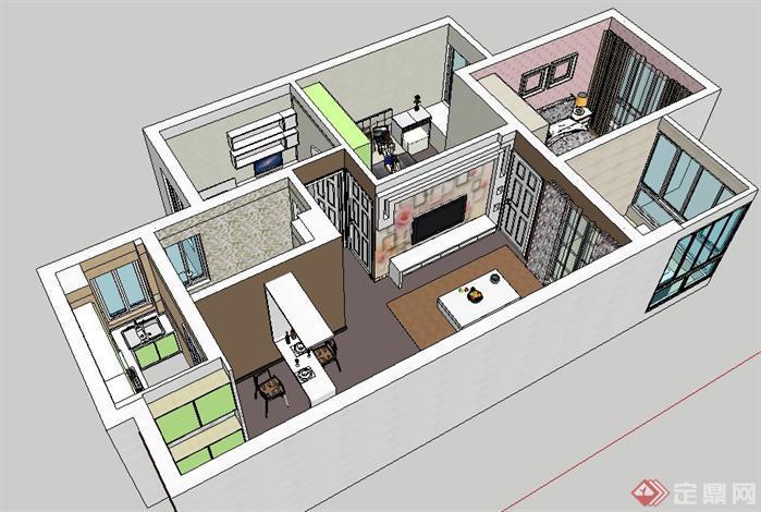 7平米的室内设计su模型,该室内设计方案创意独特,模型制作非常详细
