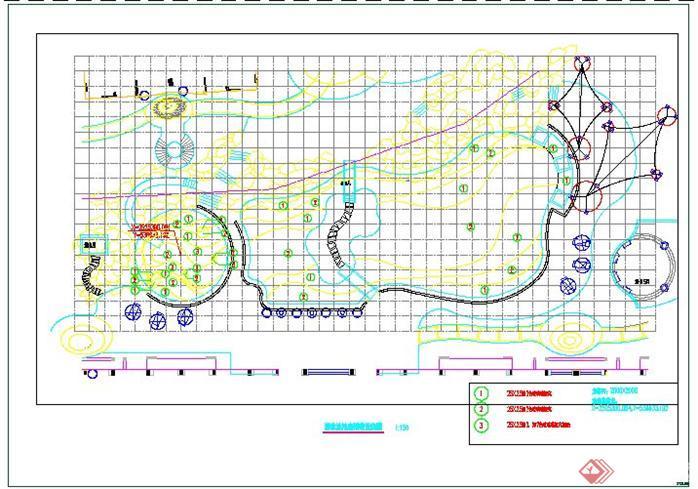 某小区游泳池池底铺装放线图
