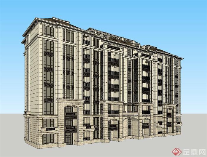 欧式法式多层住宅建筑设计su模型草图大师