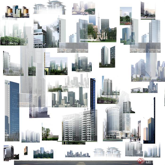某建筑设计背景配景效果图psd素材