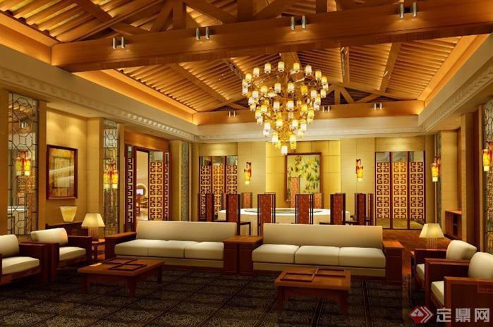 某新中式大酒店室内装修图(含效果)