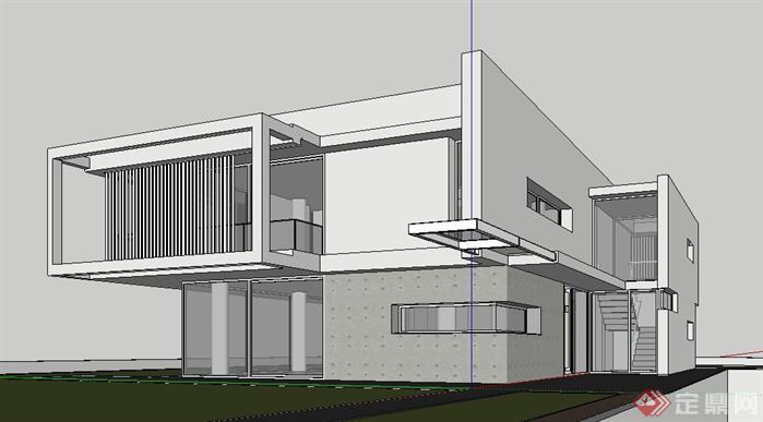 现代风格别墅设计简单su模型