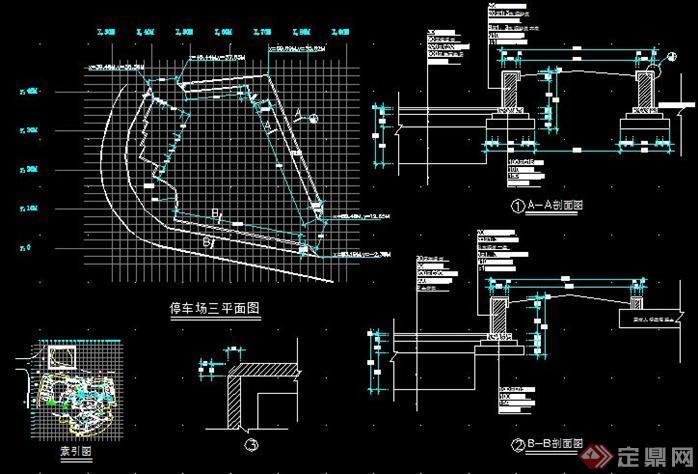 > 该图纸主要是公园内停车场的详细设计,包括停车场的总平面索引图