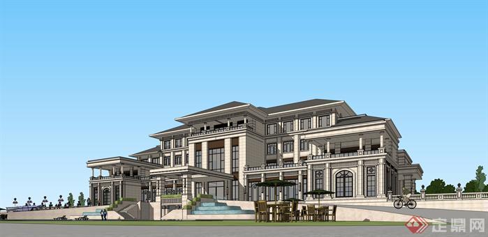 欧式新古典酒店会所建筑设计su模型草图大师