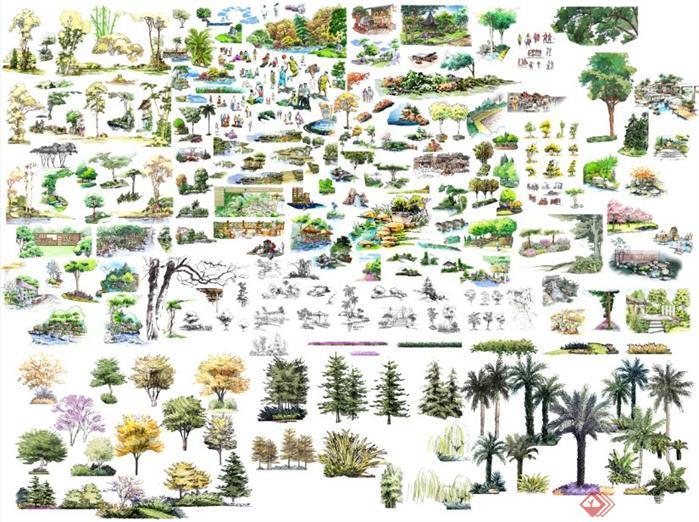 景观手绘树和景观小品节点psd素材