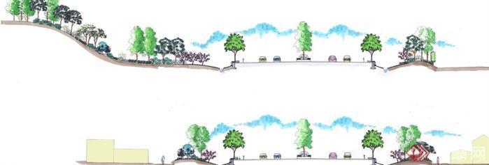 景观设计断面手绘psd格式素材