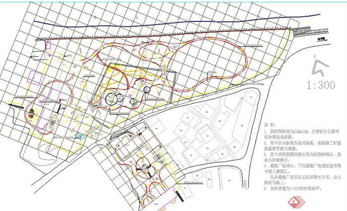 某公园放线总平面和竖向设计图
