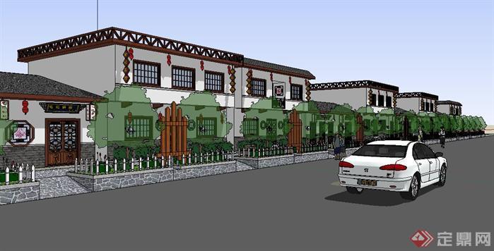 藏式风格商业街建筑设计模型sketchup图片