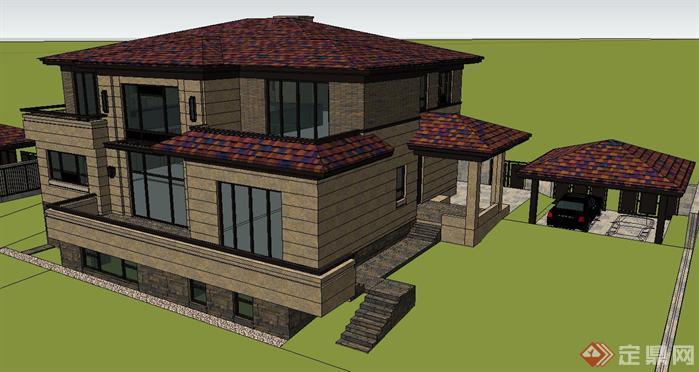 现代简约风格独栋别墅建筑su精致设计模型