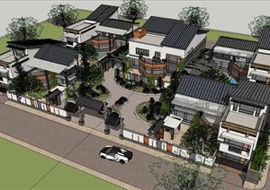 新中式四合院別墅建筑SU精致設計模型