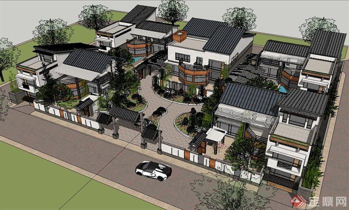 新中式四合院别墅建筑SU精致设计模型