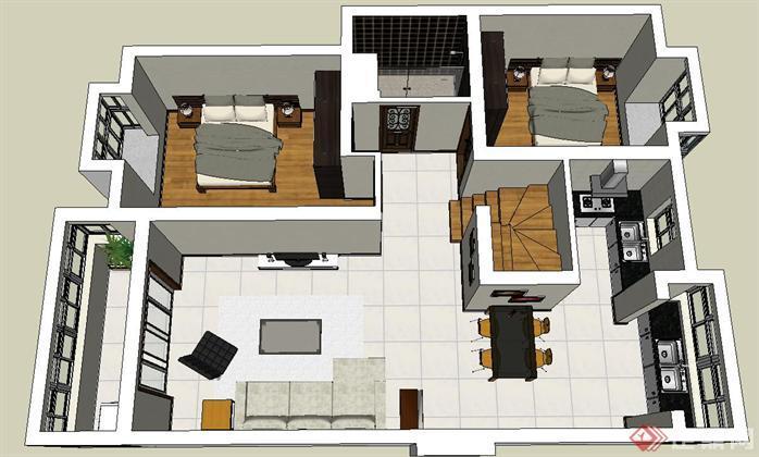 该室内设计方案创意独特,模型制作非常详细,可以在同类项目中做参考或