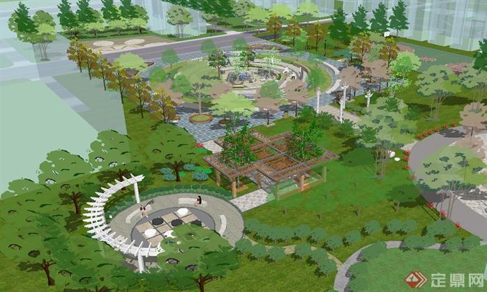 小区喷泉休闲广场景观su精致设计模型