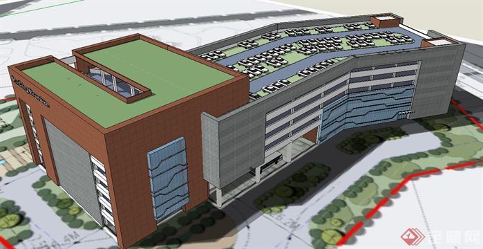 立体停车场建筑方案SU精致设计模型