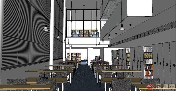 图书馆阅览室装潢方案su精致设计模型