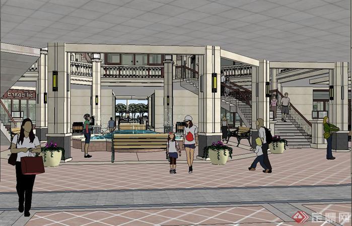 欧式商业步行街建筑与景观规划方案su精致设计模型