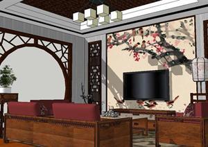 新中式小客厅家装方案SU(草图大师)精致设计模型