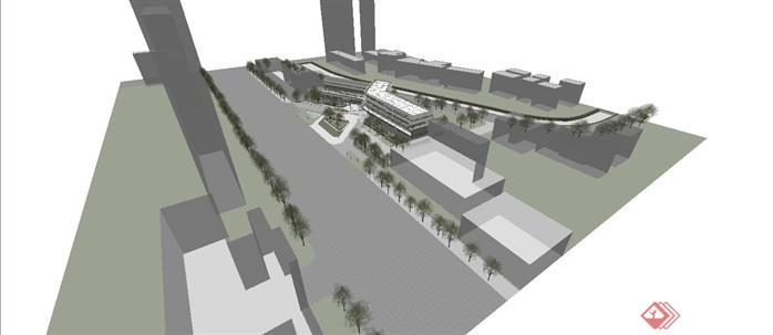 曲线酒店建筑规划设计su模型1