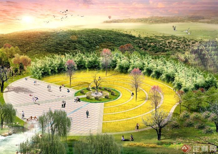 某公园圆形广场设计效果图素材