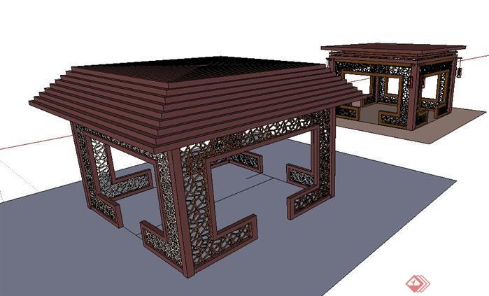 古典园林中的中式亭子sketchup模型1