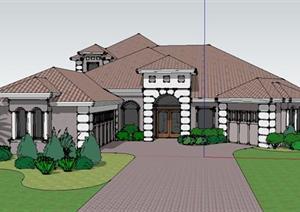 地中海风格别墅建筑和花园设计sketchup模型
