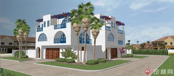纯正地中海风格别墅建筑及景观设计sketchup模型
