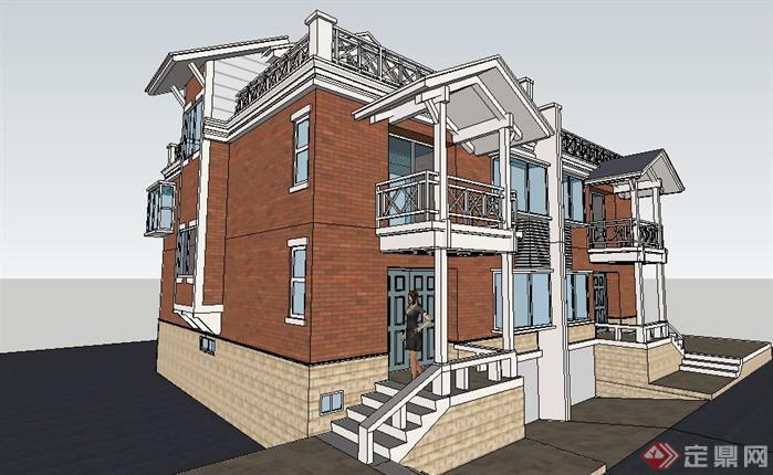 欧式双拼别墅建筑设计sketchup模型图片