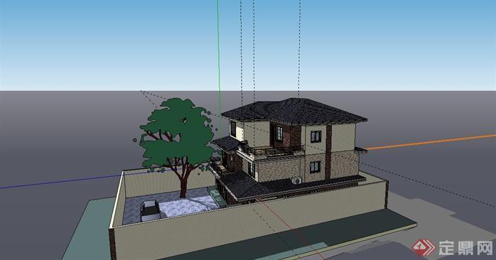 现代三层小别墅建筑设计sketchup模型图片