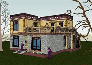 藏式风格别墅建筑设计sketchup模型图片