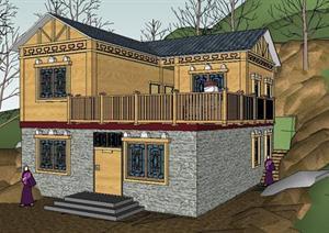 山地简洁藏式风格别墅建筑设计sketchup模型图片