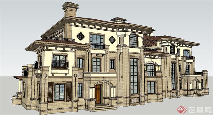 地中海风格双拼别墅建筑su精致设计模型