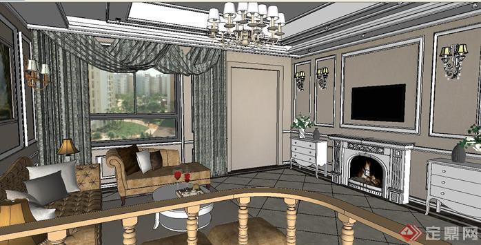 卧龙公馆客厅装潢方案su精致设计模型