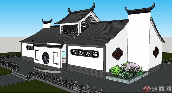 景区新中式卫生间建筑方案su精致设计模型
