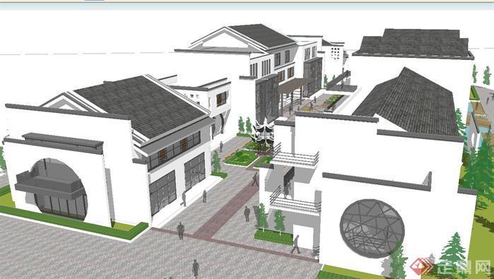 新中式小商业街建筑su精致设计模型图片